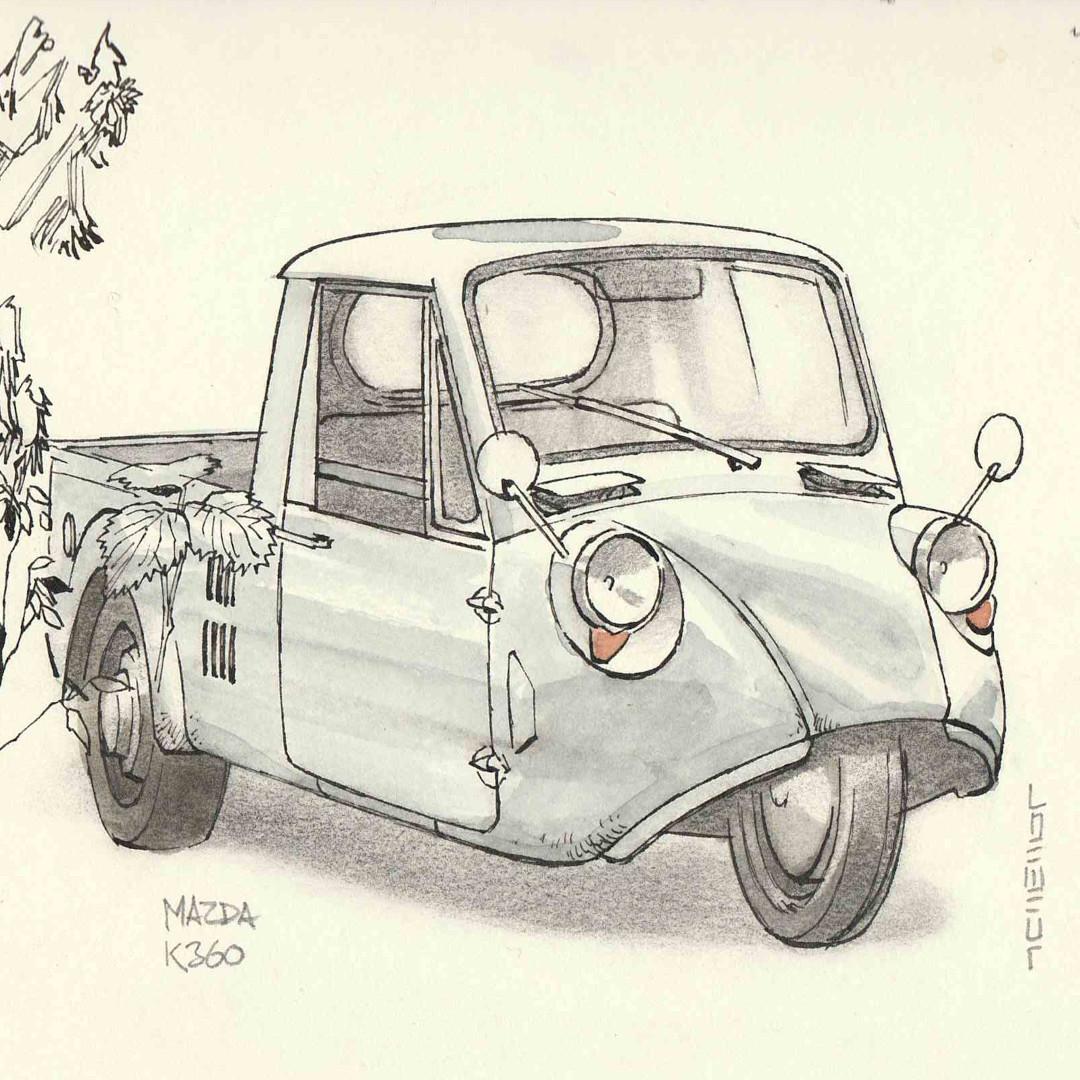 Sketchbook drawing of a Mazda K360 ultra-mini 3-wheel pickup.